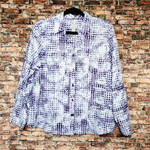 Chico's Wrinkle Resistant Purple Dot Button Down